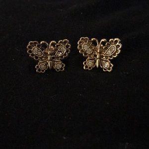 Avon Goldtone CZ Scallop Butterfly Earrings